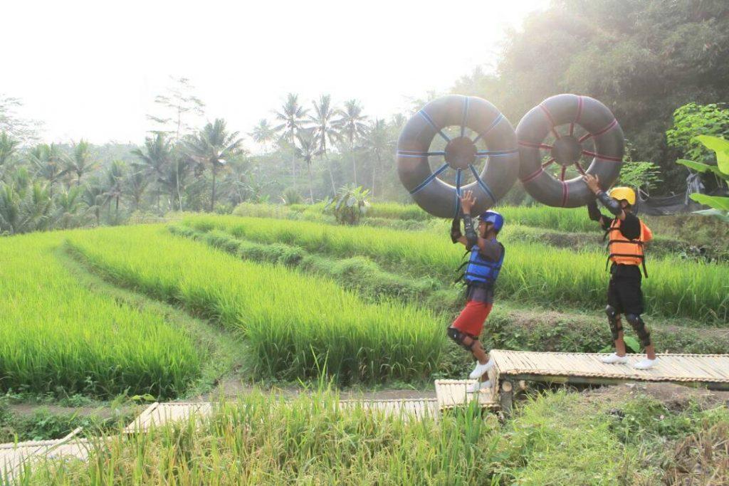Little Ubud River Tubing, sawah terasering